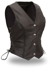 Womens Ladies Black Braided Motorcycle Vest Side Lace