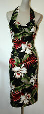 Lady Luck Brand 1940s Style Tiki Bombshell Pinup Dress Orchid Barkcloth