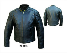 Ladies Black Leather Motorcycle Biker Touring Jacket, Zip-Out Liner, Vented