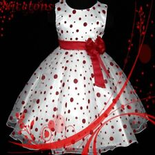 US R3117 Red Girl Spot Christmas Wedding Party Flower Girls Dress SZ 2T,4T,6T,8T