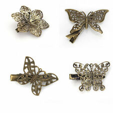 New Wholesale Retro Vintage bRONZE Butterfly Flower Hair Clip Hairpin Accessory