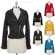 Poly Fleece Cropped Cotton Motorcycle Jacket with Front Slope Zipper 2 Pockets