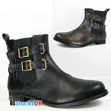 Ladies Womens Winter Ankle Boots Fashion Shoes Size 3 4 5 6 7 8 Black Buckle New