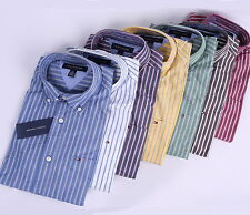 NEW TOMMY HILFIGER MEN LONG SLEEVE BUTTON DOWN STRIPE CASUAL SHIRT - $0 SHIPPING