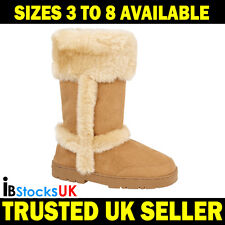 Ladies Womens Winter Boots Mid Calf Fashion Shoes Size 3 4 5 6 7 8 B40118 Tan