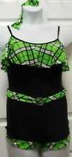 NWT Shorty Unitard Plaid hotlime Black Girls ladies Jazz Acro Cami Style sparkle