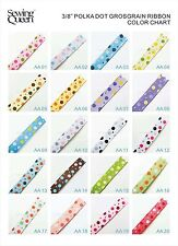 "3/8"" HOT MIXED MINI DOT MULTICOLOR Cute Polka Dot Grosgrain Ribbon DIY BOW craft"