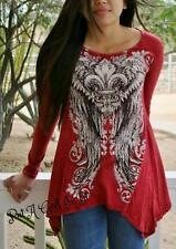 VOCAL CRYSTAL FLEUR DE LIS WINGS RED MINERAL WASH TUNIC TOP SHIRT BIKER S M L XL