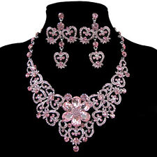 Cluster Flower Floral Necklace Rhinestone Earrings Pendant Set Crystals Jewelry