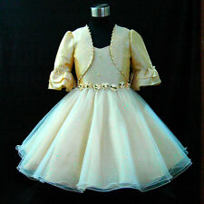 B875 Beige Gold Wedding Flower Girls Dress + Cardigan Set SZ 2-3-4-5-6-7-8-9-10Y