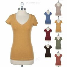 V Neck Short Sleeve Cotton Tee Shirt Top Casual Comfortable Easy Wear Spandex
