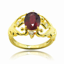 De Buman 2.60ctw Genuine Ruby and Cubic Zirconia 925 Silver Ring SIZE 6/7/8