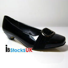 Ladies Women Girls Mid High Heels Casual Office Shoes Black Size 4 5 6 7 8 Sonia