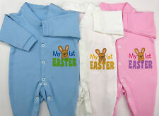 My 1st First Easter Embroidered Baby Grow Sleep Suit Blue Pink White Boy Girl