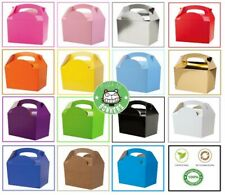 Childrens / Kids Recyclable Party Meal Boxes - Plain Colours - Food Use Gift Bag