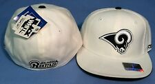 ST. LOUIS RAMS BLACK/WHITE WITH PIPING TEAM LOGO FLAT BRIM FITTED NFL CAP REEBOK