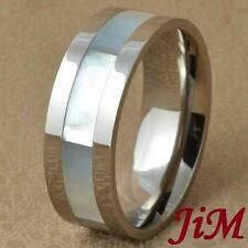 Titanium Ring Shell Inlay Mens Wedding Band Engagement Bridal Jewelry Size 6-13
