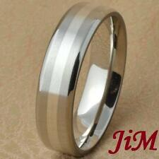 Titanium Ring Silver Inlay Mens Wedding Band Engagement Bridal Jewelry Size 6-13