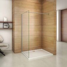 Aica Chrome Walk-In Shower Enclosure Panel Wet Room Screen 8mm Easyclean Glass