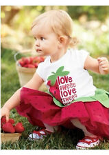 2pcs Girl Baby Kids Strawberry T-shirt Top+Skirt Tutu Pettiskirt Outfit Clothes