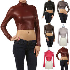 Dull Foil Faux Leather Solid Turtleneck Long Sleeve Cropped Top Tight Fit Sexy