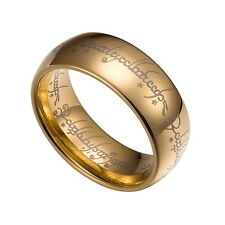 Gold Tungsten Carbide 7mm Lord Of The Rings Band Plain Size 7-14 TG032