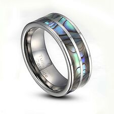 Tungsten Carbide 8mm Abalone Striped Inlay Comfort Fit Ring US Size 8-14 TG003