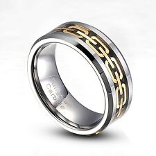 Tungsten Carbide 8mm Gold Chain Link wedding Band Ring Size 8-14 Half Size TG015