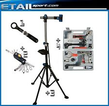 HOME MECHANIC FOLDING  BIKE CYCLE REPAIR STAND + TOOL KIT + ALLEN KEYS + WRENCH