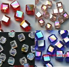 Lots 20 pcs AB Color Crystal Cube Spacer Beads 6X6mm Jewelry Making Findings