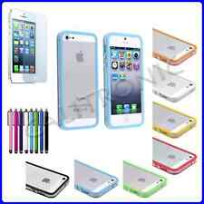 Clear/Color TPU Silicone Bumper Frame Case W/ Metal Buttons for iPhone 5 5G 5th