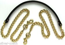 "3/8"" Wide Gold / Nickel Chain & Genuine Leather Shoulder Bag/Purse Strap US-Made"