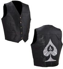 "Leather Motorcycle Vest  ""Ace of Spades""  NEW!"