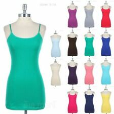 Basic Solid Adjustable Spaghetti Strap Cotton Tunic Camisole Tank Top Casual