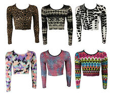 NEW MULTI COLOUR ANIMAL AZTEC PRINT LONG SLEEVE JERSEY CROP TEE TOP SIZE 8-14