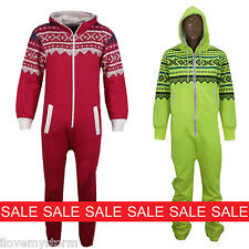 NEW MENS WOMENS  AZTEC SNOW FLAKE PRINTED ALL IN ONE UNISEX ONESIE JUMPSUIT