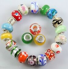 Assorted color Murano European charm (Lampwork Glass)beads 925 sterling silver