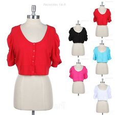 [Junior Plus] Cropped Button Down Scoop Neck SHRUG BOLERO Cardigan 1XL 2XL 3XL
