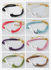 Fashion Velvet Korea Infinity Connector Handmade Adjustable Bracelets Charms