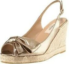 Valentino Mena Metallic Gold Leather Bow Slingback Espadrille Wedge Shoes $475