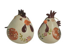 Ceramic Chicken and Rooster Gourd Ornaments Handmade in Peru | Fair Trade |