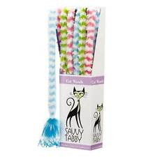 Savvy Tabby FURRY WAND Teaser Wand  Cat Toy PINK GREEN BLUE