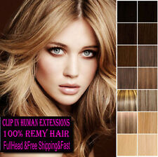 Hot Clip In Real 100% Full head Human Hair Extensions any color 70g 100g 120g