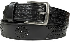 "Western Embossed Basketweave Woven Genuine Leather Jean Belt 1-1/2"" Wide, Black"