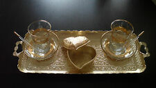 Turkish LOVELY Set:Tea Cups,Plates,Spoons,Sugar Bowl,Tray,Glass,Zamak,Gold Color