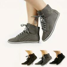 New Women Girls Ladies Flat Pumps Lace Up Casual Trainer Boot Size 3-8