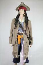 JACK SPARROW Pirate FULL COSTUME Belts Wig Coat Vest Shirt Pants Sash Baldric