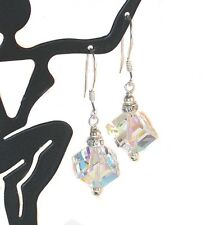 SWAROVSKI Elements CLEAR AB CRYSTAL EARRINGS 8mm Diagonal Cube Sterling Silver