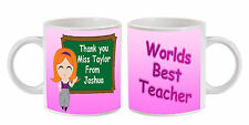 PERSONALISED THANK YOU WORLDS BEST TEACHER MUG LEAVING GIFT FEMALE   (a)