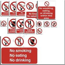 No Smoking Eating Drinking Signs - Factory Catering Entertainment Office 40+ Pr3